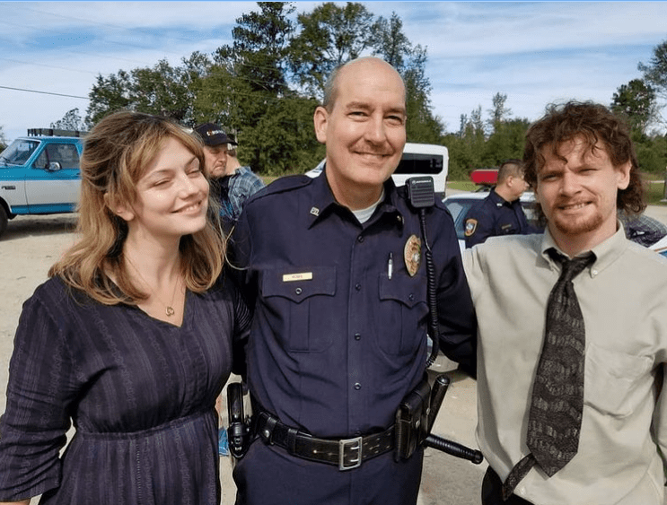 James Healy Jr with actors Emily Meade and Jack O' Connellon the set of Trial by Fire - Director: Ed Zwick